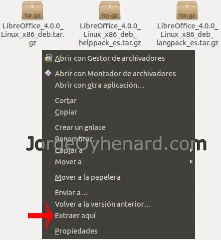 Descomprimir Libre Office