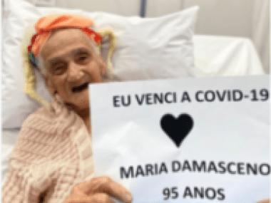 Senhora de 90 anos teve covid 19 e ficou curada
