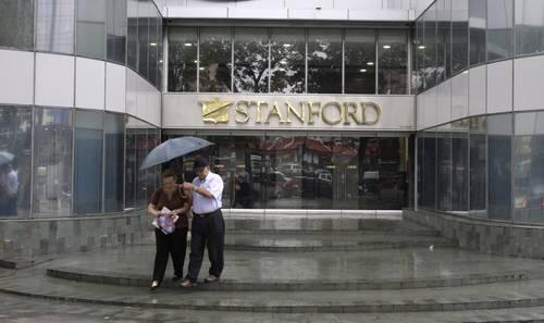 Vista de una de las oficinas de Stanford en Caracas hace un par de semanas (Foto Ap)