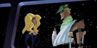 Canário Negro e Arqueiro no desenho da Liga da Justiça