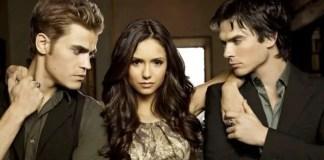 Paul Wesley, Nina Dobrev e Ian Somerhalder, da série The Vampire Diaries