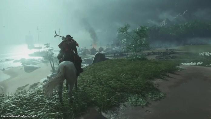 Imagem promocional de gameplay Ghost of Tsushima