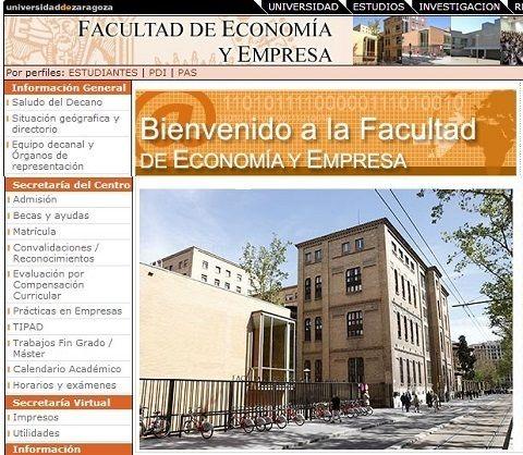 Faculta de Economía y Empresa de la Universidad de Zaragoza.