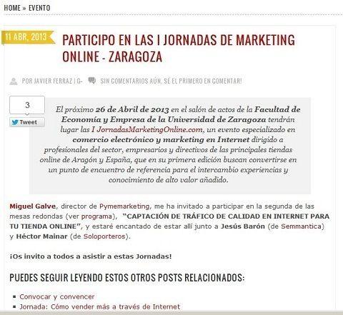 Javier Ferraz nos cita a Jornadasmarketingonline.com en su blog y también en su twitterr