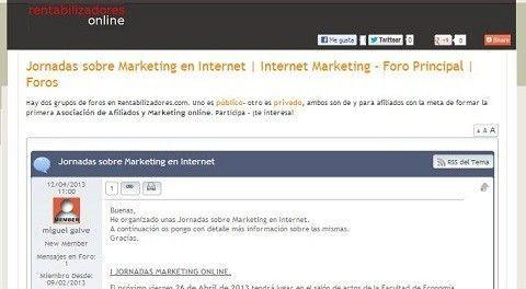Hemos publicado información sobre las Jornadasmarketingonline.com en el foro rentabilizadores.com