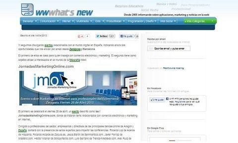 wwwhat's new divulga las I Jornadamarketingonline.com
