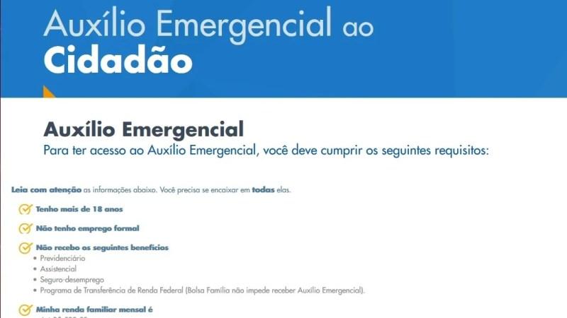 Site da Caixa sobre o Auxílio Emergencial, já está disponível