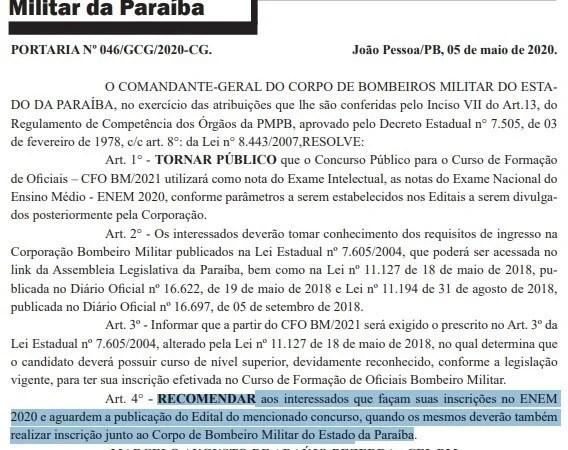 Candidatos interessados no concurso do Corpo de Bombeiros da Paraíba devem se inscrever no Enem 2020