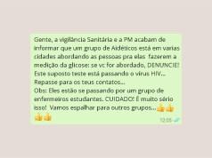 Mensagem com alerta de que grupo está espalhando HIV em exames é falsa