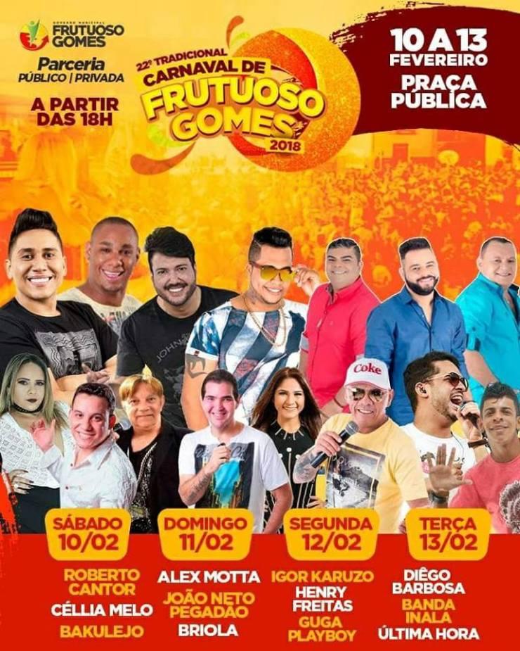 Prefeitura De Frutuoso Gomes Definiu Grande de Atrações do Carnaval 2018