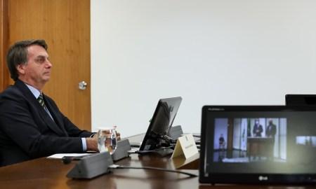 25.05.2020 - Brasília/DF - Presidente da República Jair Bolsonaro, participa por videoconferência da Solenidade de Posse do Subprocurador-Geral da República Carlos Alberto Vilhena no cargo de Procurador Federal dos Direitos do Cidadão para o biênio 2020-2022. Foto: Marcos Corrêa/PR