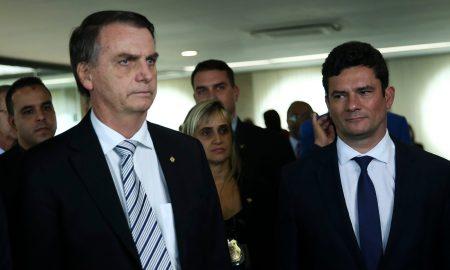 07.11.2018 - Brasília/DF - O presidente eleito Jair Bolsonaro e o futuro ministro da Justiça, Sérgio Moro, durante visita ao Superior Tribunal de Justiça (STJ). Foto José Cruz/Agência Brasil