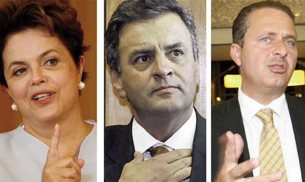 Dilma Rousseff, Aécio Neves e Eduardo Campos: debate com mais ênfase sobre economia, qualidade dos serviços públicos e desenvolvimento sustentável