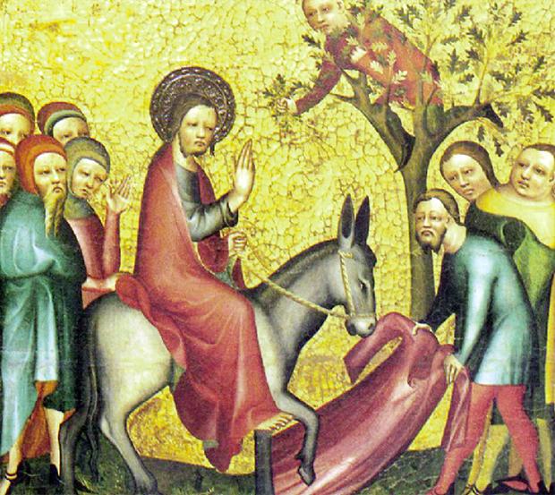 Pintura do século 14, de artista alemão desconhecido, retrata Jesus e o jumento que mandou seus discípulos pegarem