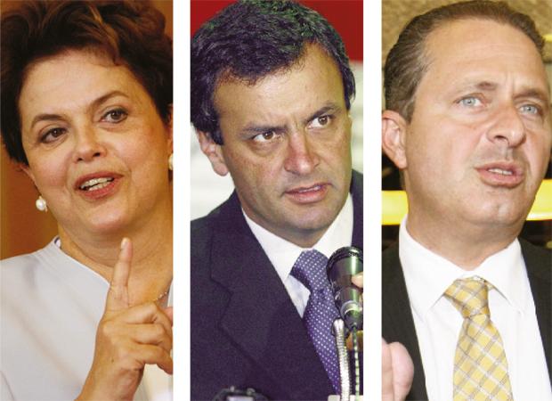Dilma Rousseff está em exposição permanente, enquanto Aécio Neves e Eduardo Campos estão aquecendo