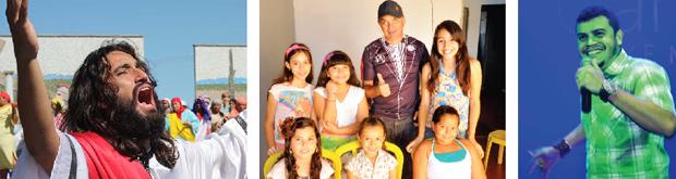 Grupo Desencanto, diretor Fábio PH com atrizes mirins e o cantor Antônio Erasmo: população trindadense tem várias e ótimas opções de cultura  | Foto: Fotos: Gabinete de Imprensa – Prefeitura de Trindade