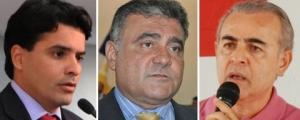 Entre os pré-candidatos ao governo interino estão o deputado Marcelo Lelis (PV, à esquerda), José Augusto Pugliese (PMDB) e Paulo Mourão (PT)