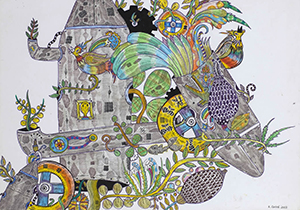 Obra de Rodrigo Godá, que traz em seus trabalhos temáticas como natureza e tecnologia