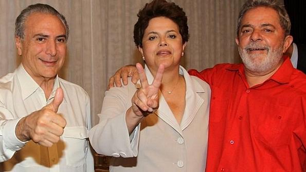 O trio: Michel Temer, Dilma Rousseff e Lula | Foto: Divulgação