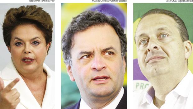 Dilma Rousseff, do PT, caiu mais nas pesquisas do que Aécio Neves, do PSDB, e Eduardo Campos, do PSB
