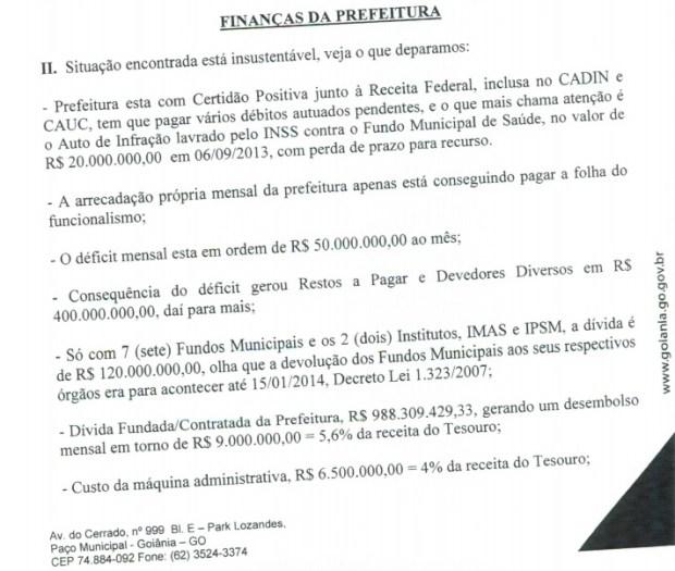 Relatório que foi encaminhado ao prefeito Paulo Garcia com a análise da situação das finanças da Prefeitura em 17 de fevereiro de 2014 | Foto: Reprodução