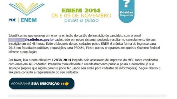E-mail falso sobre o Enem usado para enganar usuários | Arquivo/Agência Brasil