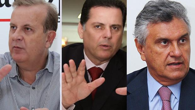 Da esquerda para direita, o prefeito de Goiânia, Paulo Garcia, o governador de Goiás, Marconi Perillo, e o deputado federal Ronaldo Caiado.