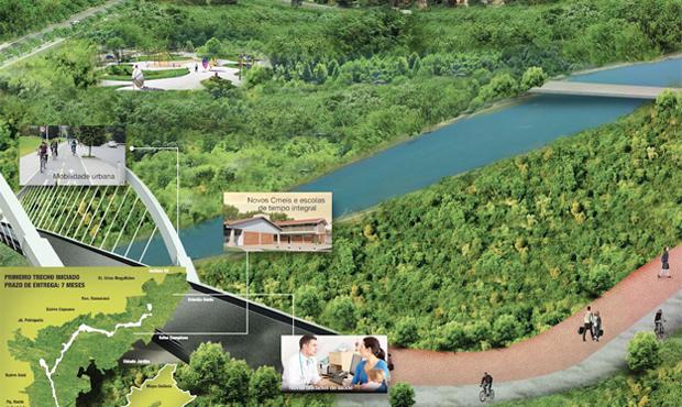 Projeção de como deve ficar o Parque Macambira Anicuns depois que as obras forem finlizadas | Foto: Divulgação