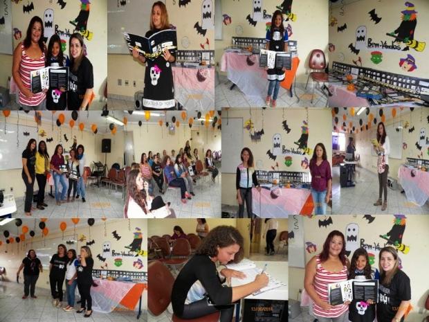 """Fotomontagem de iniciativas nas escolas brasileiras que usaram o kit """"Bú! Histórias de medo e coragem"""""""
