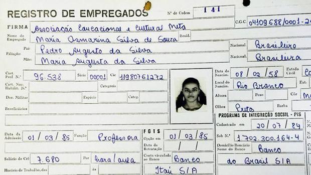 Registro profissional de Marina Silva como professora do Colégio Meta (AC)   Foto: Evaristo de Lucca/Arquivo pessoal/divulgação VEJA
