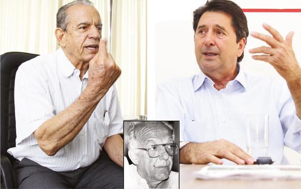 Iris Rezende e Maguito Vilela: em nove disputas ao governo eles estiveram em todas; apenas em uma vez a dobradinha foi quebrada, por Henrique Santillo (no detalhe), em 1986
