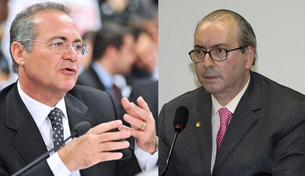 Peemedebistas Renan Calheiros e Eduardo Cunha: eles ajudam o governo se forem eleitos para comandar o Legislativo l Ivaldo Cavalcante/Agência Câmara