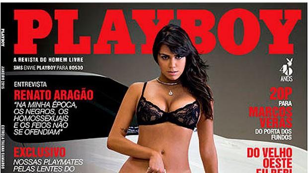 Playboy divulga capa com ex-amante do doleiro Youssef cobrindo partes íntimas com dólares