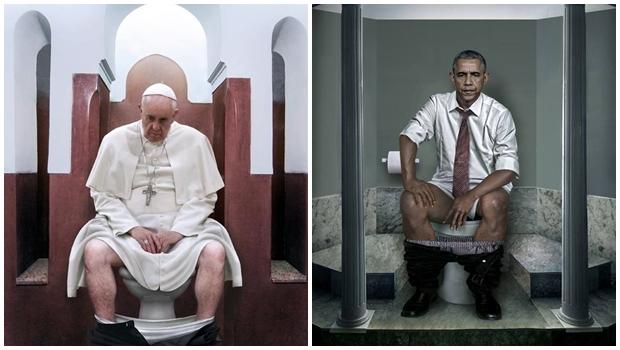 """Artista italiana mostra líderes mundiais em seus respectivos """"tronos"""""""