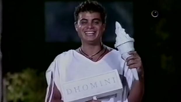 Dhomini durante uma prova do BBB 3: quando foi campeão | Foto: reprodução / Rede Globo