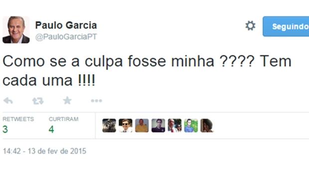 No Twitter, Paulo Garcia sugere que não tem culpa sobre aumento da passagem de ônibus