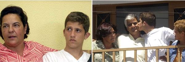 À esquerda, Pedrinho com Vilma; à direita, com os pais biológicos | Fotos: reprodução / em.com.br