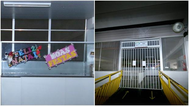 À esquerda, cartazes desejando Feliz Natal e Boas Festas ainda enfeitam uma parede do restaurante; à direita, portas fechadas | Fotos: Fernando Leite / Jornal Opção
