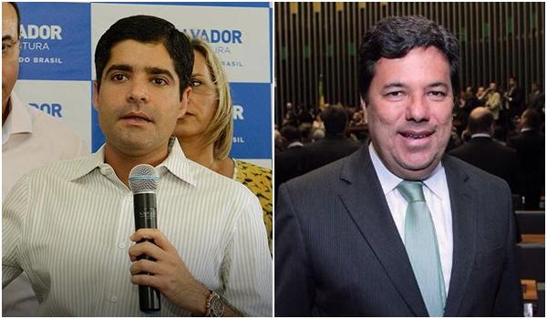 Prefeito de Salvador, ACM Neto e o líder do DEM na Câmara, Mendonça Filho: entusiastas da fusão com o PTB | Fotos: reprodução / Facebook