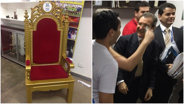 """Reitor da PUC Goiás entrega cadeira simbólica a alunos de Direito: """"Vamos investigar a fundo"""""""