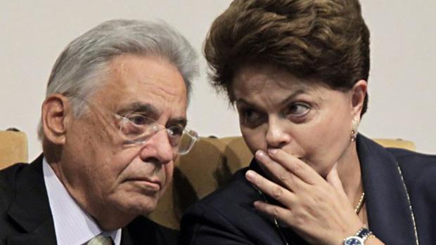 Dilma Rousseff e Fernando Henrique Cardoso:  o ex-presidente avalia que a presidente não é corrupta mas está encurralada por seus aliados | Foto: Veja