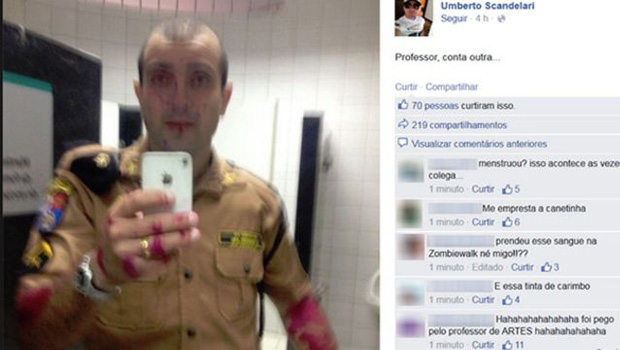 "PM confirma que ""sangue"" de foto publicada por policial é, na verdade, tinta"