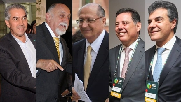 Governadores Reinaldo Azambuja (MS), Simão Jatene (PA), Geraldo Alckmin (SP), Marconi Perillo (GO) e Beto Richa (PR)