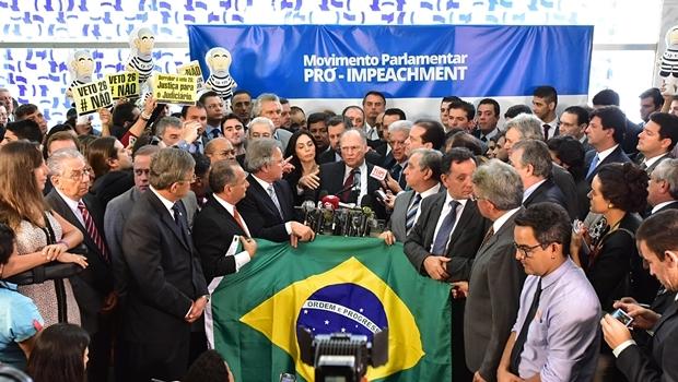 Prlamentares se reúnem para lançar movimento contra Dilma | Foto: Zeca Ribeiro / Câmara dos Deputados