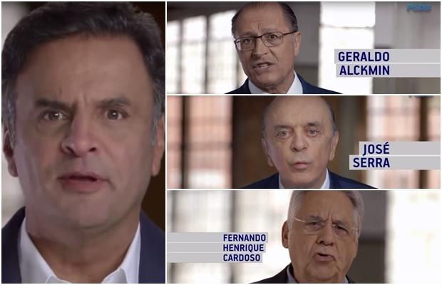 Presidente nacional do partido, Aécio Neves, o governador Geraldo Alckmin, o senador José Serra e o ex-presidente FHC: só deu São Paulo | Foto: reprodução / vídeo