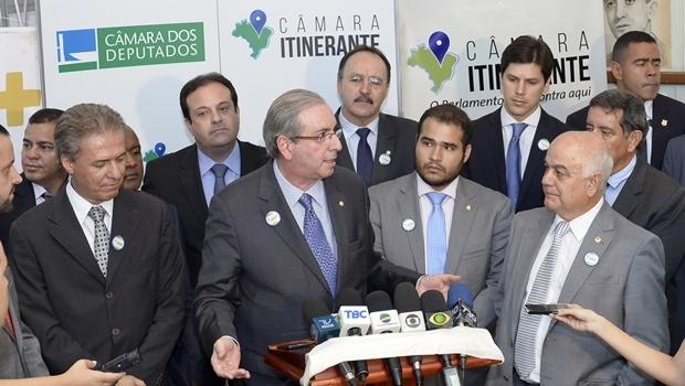 Deputado Eduardo Cunha concede coletiva de imprensa na Alego | Foto: Y. Maeda