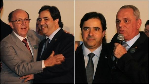 Flávio Buonaduce com Felicíssimo Sena e Miguel Cançado durante o lançamento   Foto: Renan Accioly / Jornal Opção