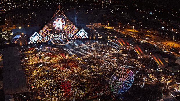 Vista aérea do festival de 2015
