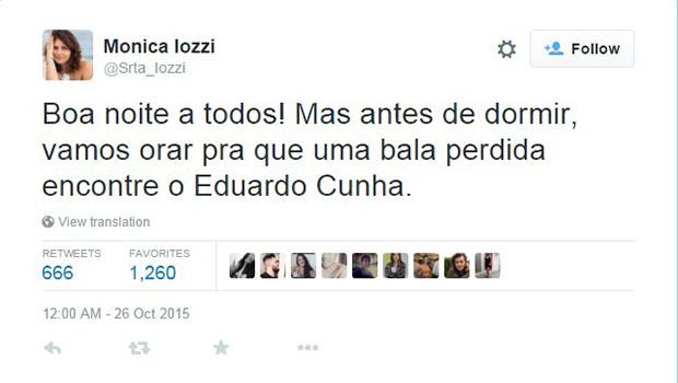 """Mônica Iozzi pede """"oração"""" para que uma bala perdida acerte Cunha"""