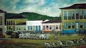 Pintura a óleo de Octo Marques mostra cidade de Goiás | Reprodução